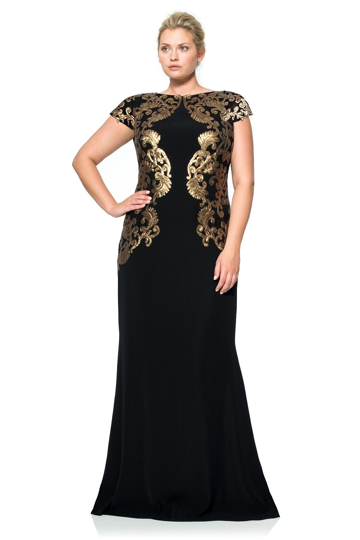Crepe draped open back gown with metallic paillette detail plus