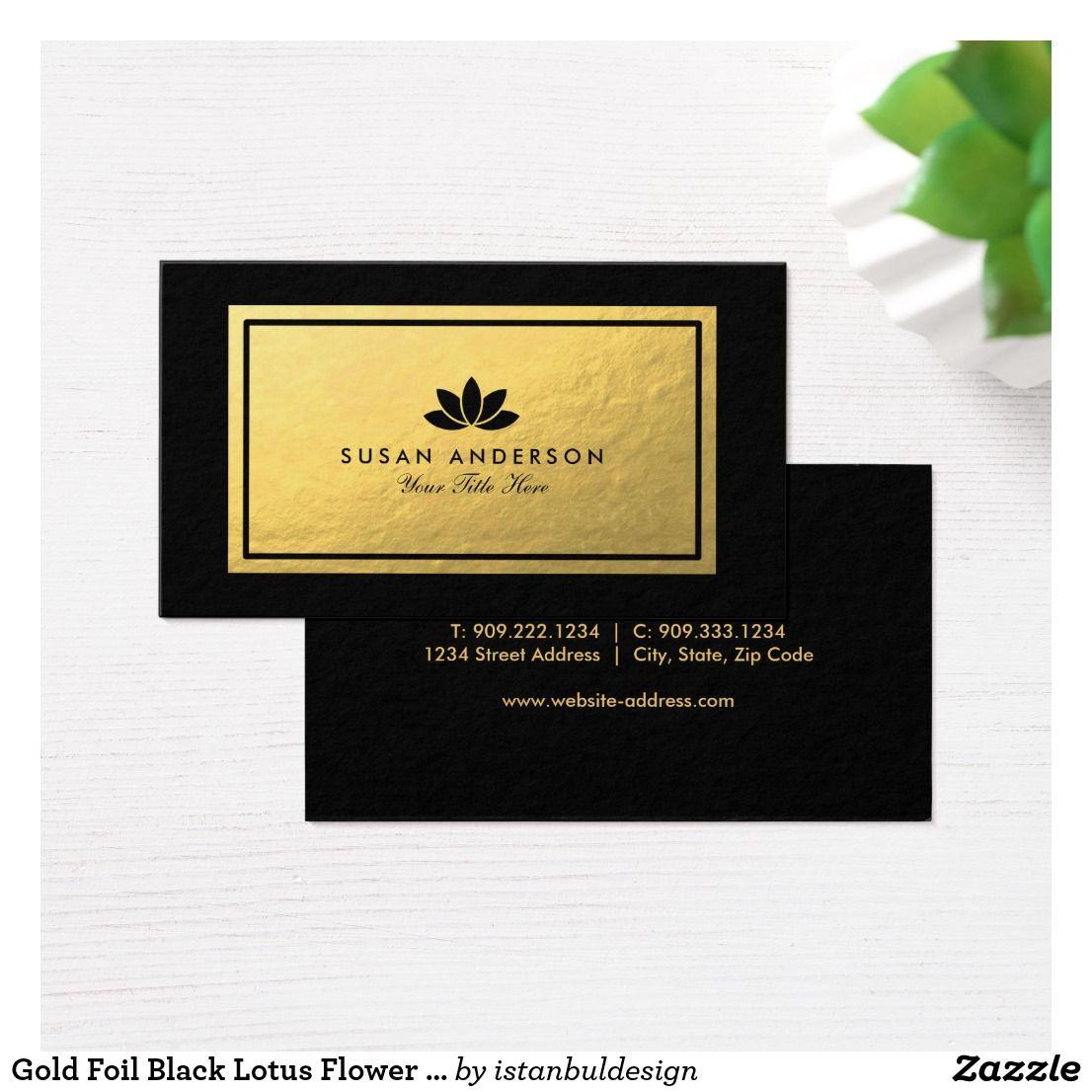 Gold Foil Black Lotus Flower Business Card | Business cards