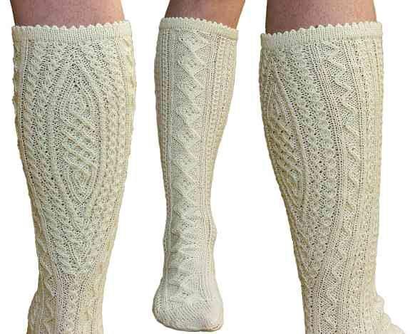 Neue handgestrickte weiße Trachtenstutzen, Socken, Herrensocken ...
