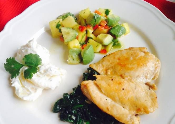 Resep Lemon Honey Glazed Chicken With Mango Avocado Salsa Saute Spinach Creamy Potato Oleh Diennursasti Resep Resep Mango Alpukat