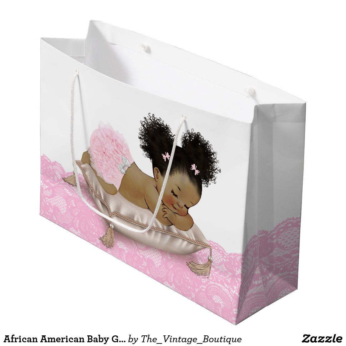 African american baby girl baby shower large gift bag