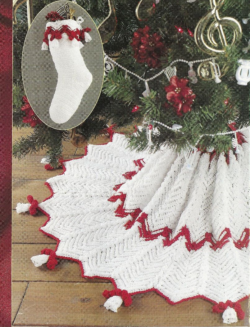Bells Christmas Tree Skirt Stocking Crochet Pattern Ripple Red And White Annies Crochet Xmas Christmas Crochet Christmas Crochet Patterns