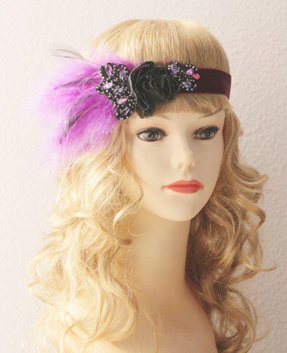 Purple Black Feather Beads Beaded Headdress Flapper