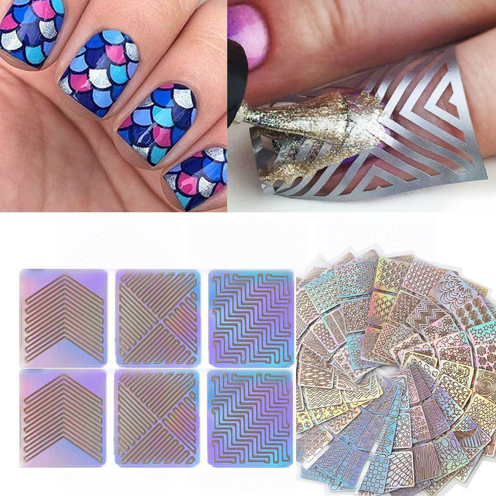 24 Sheet/Set DIY Nail Stencil Laser Stickers Template Nail Art ...