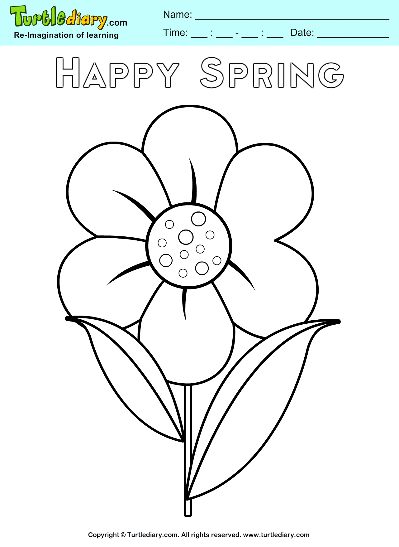 Spring Flower Coloring Sheet Kids Crafts Coloring Turtlediary