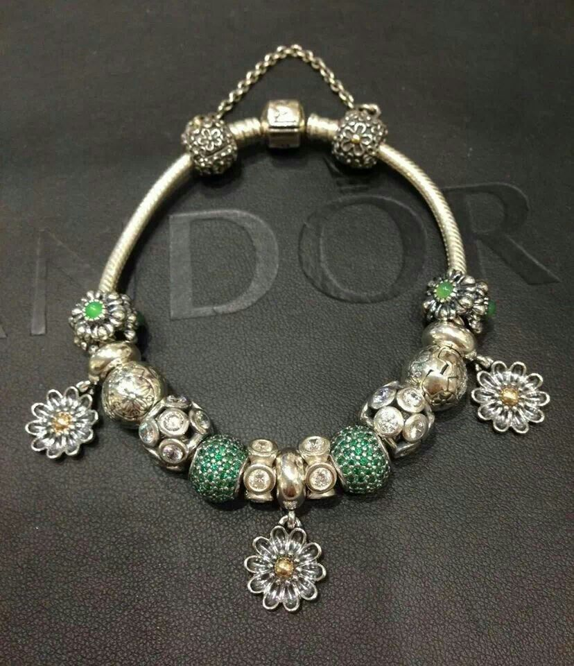 Pandora Bracelet Featuring New Green Pave And Gerbra Flower Dangles Love  The Oopsi Daisy Charms