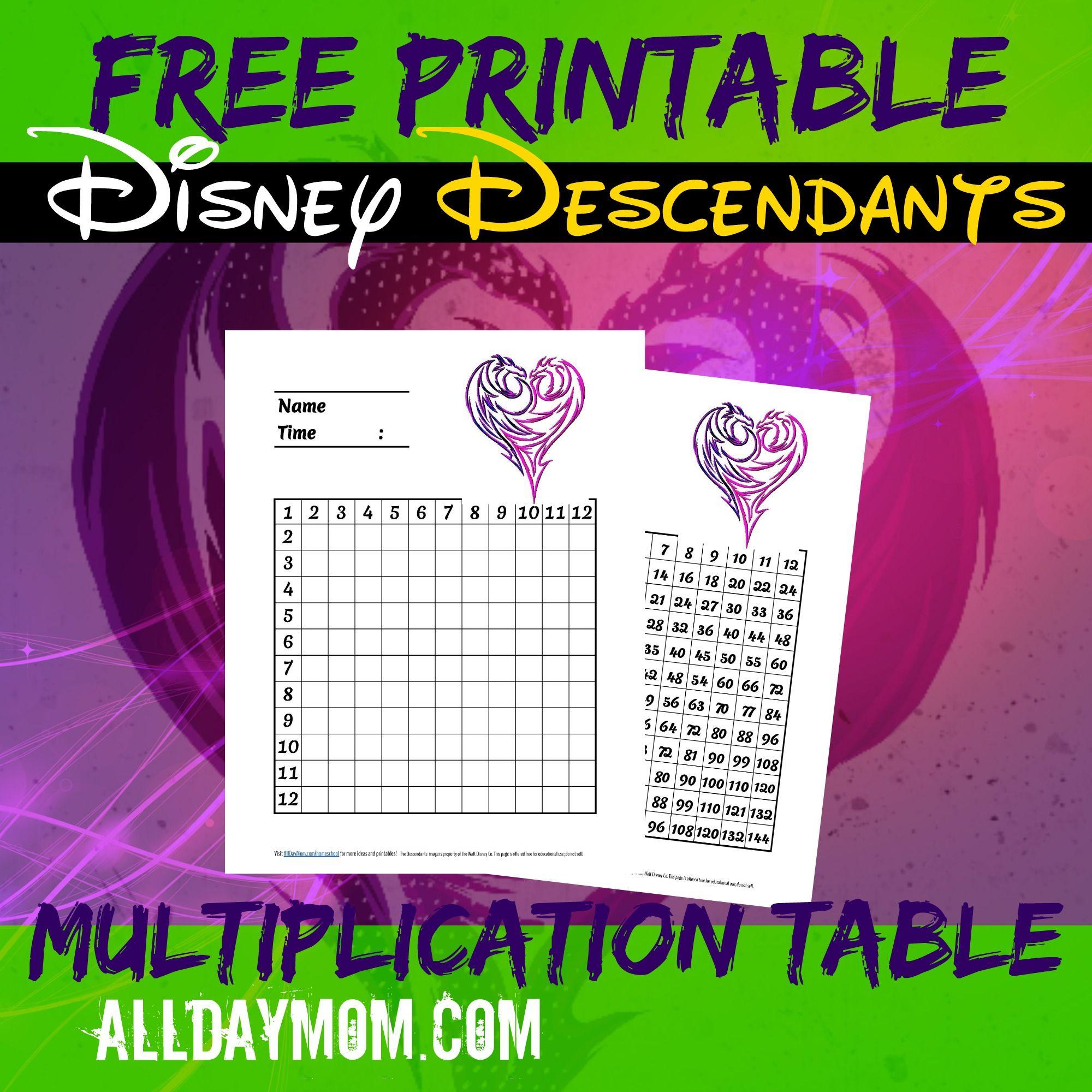 Free printable Disney Descendants multiplication table Make