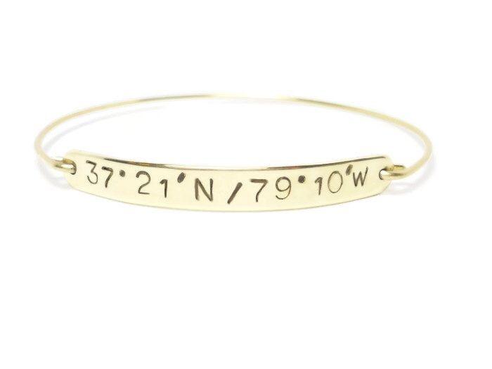 Personalized LATITUDE & LONGITUDE Gold Bangle, Custom GPS Bracelet, Personalized Gold Jewelry, Coordinate Bracelet, Graduation Gift by THEmodernBAZAAR on Etsy https://www.etsy.com/listing/188578548/personalized-latitude-longitude-gold