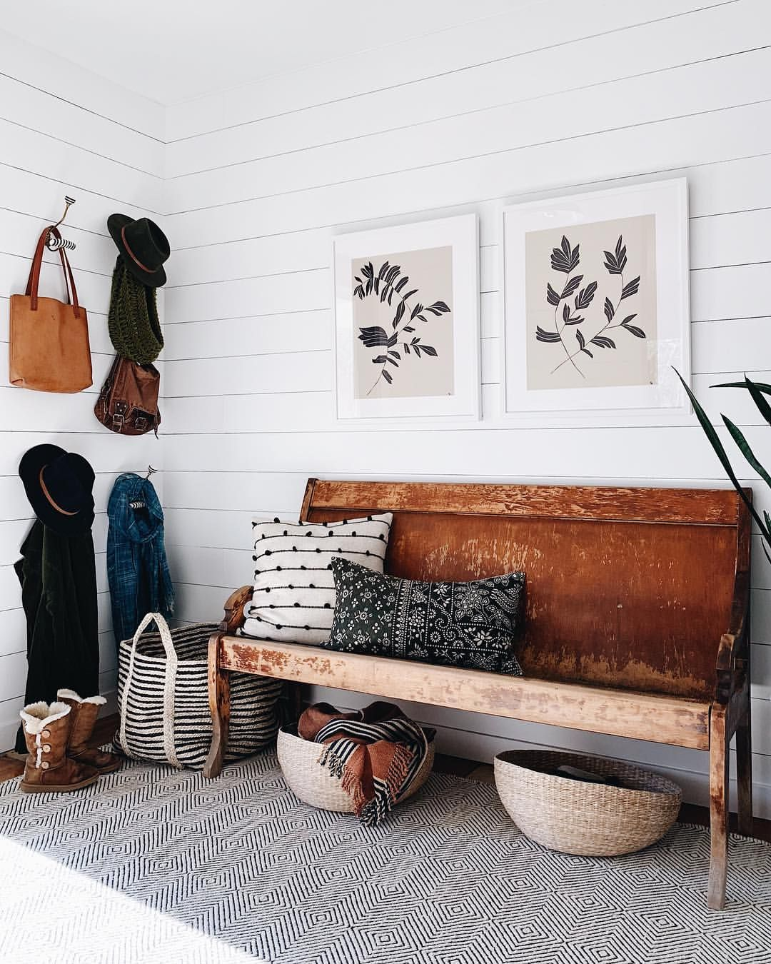 30 Eye Catching Entryway Benches For Your Home: Shiplap Foyer, Vintage Bench, Wall Hooks