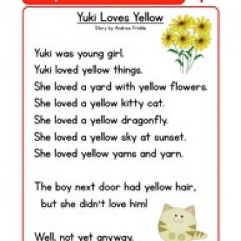 Kindergarten Reading Comprehension Worksheet - Alphabet Stories - Y