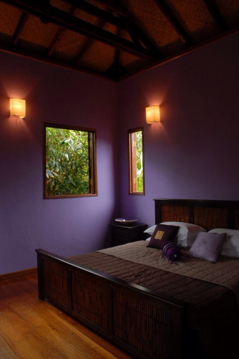 Purple Black Tan Bedroom