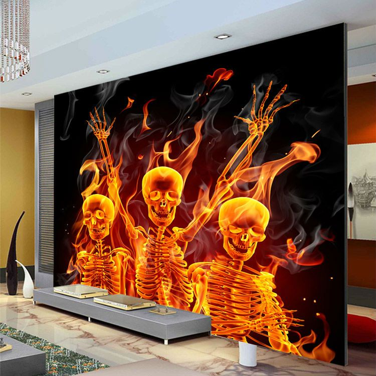 Fire Skull Wallpaper Custom 3D Wall Murals Waterproof Silk photo