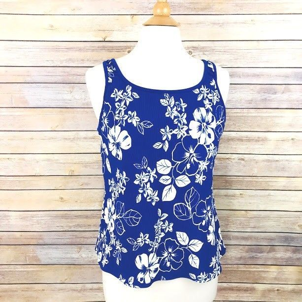 0589150218c L.L. Bean Womens Swimsuit Bathing Suit Tankini Top Blue Floral Plus Size 18  Swim  LLBean