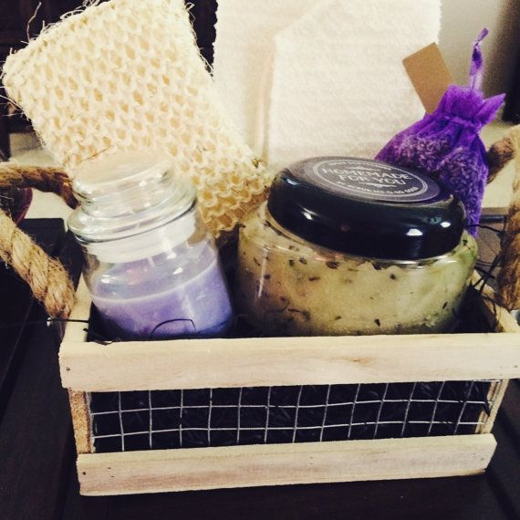 Mother's Day Homemade Natural Body Scrub Basket  #lavander /  #lemon /#mothersday /#homemade / #scrub / #natural / #bodycare / https://www.etsy.com/listing/219379065/mothers-day-homemade-natural-body-scrub