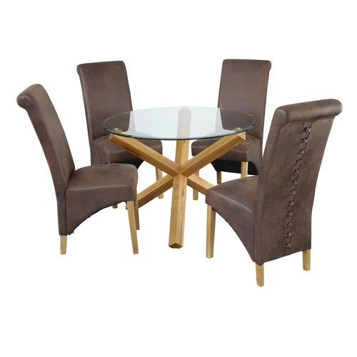 Miraculous Oporto Dining Table With 4 Chairs Riley Ave Colour Brown Uwap Interior Chair Design Uwaporg
