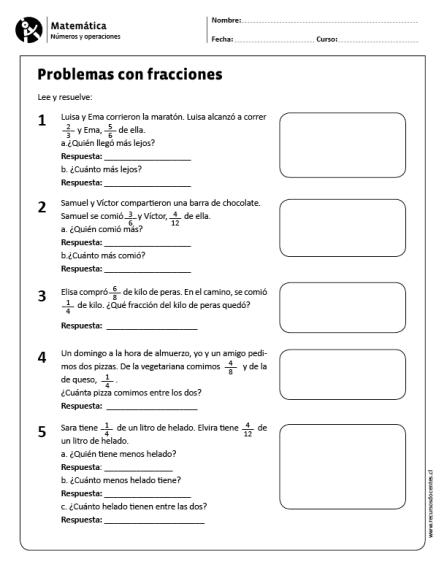 Problemas Con Fracciones Fracciones Para Primaria Resta De Fracciones Matematicas Fracciones