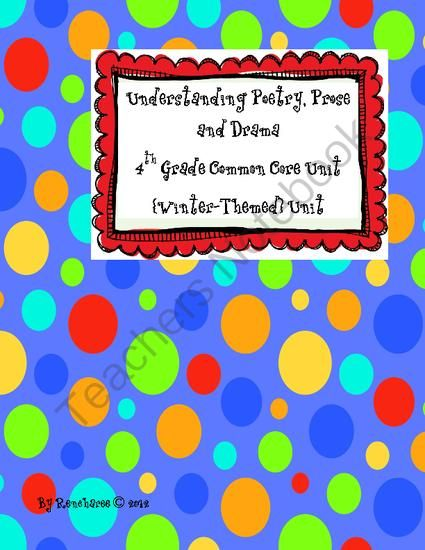 Understanding Poetry Prose And Drama 4th Grade Winter