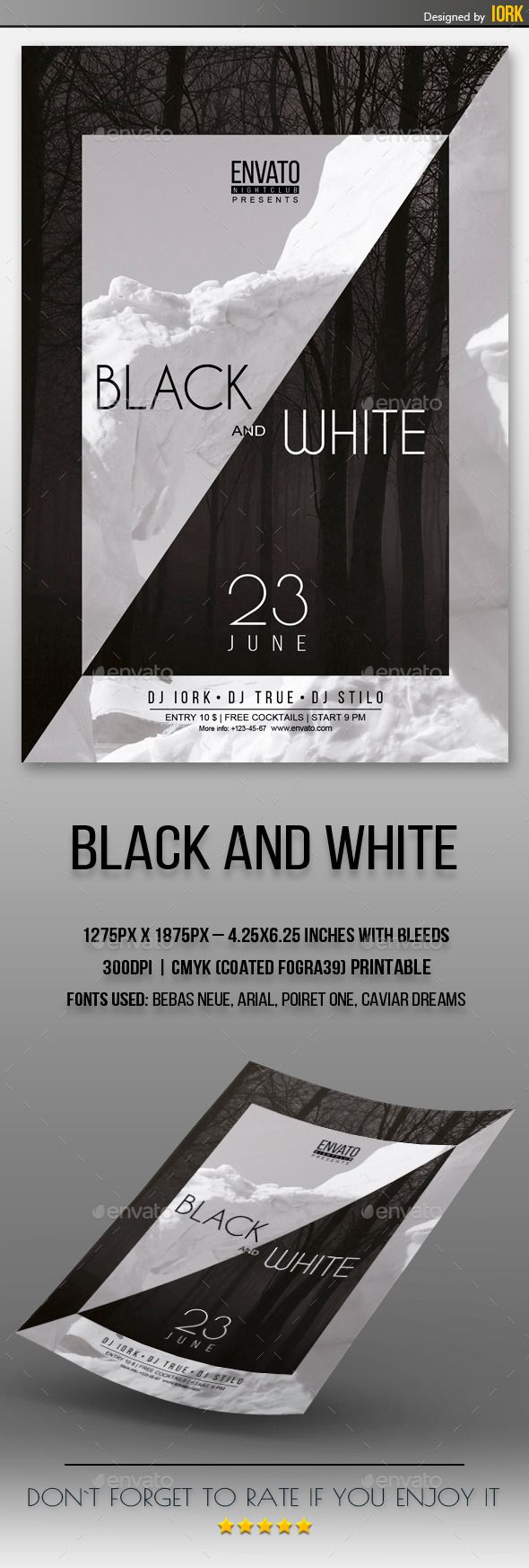 Black And White Flyer  Font Logo Flyer Template And Fonts