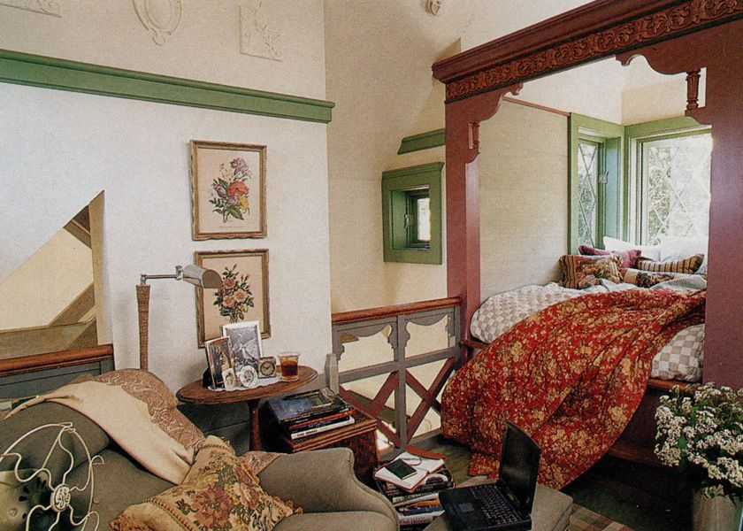 Built In Alcove Bed Overlooking Living Area Fantasy Cottage Featured Country
