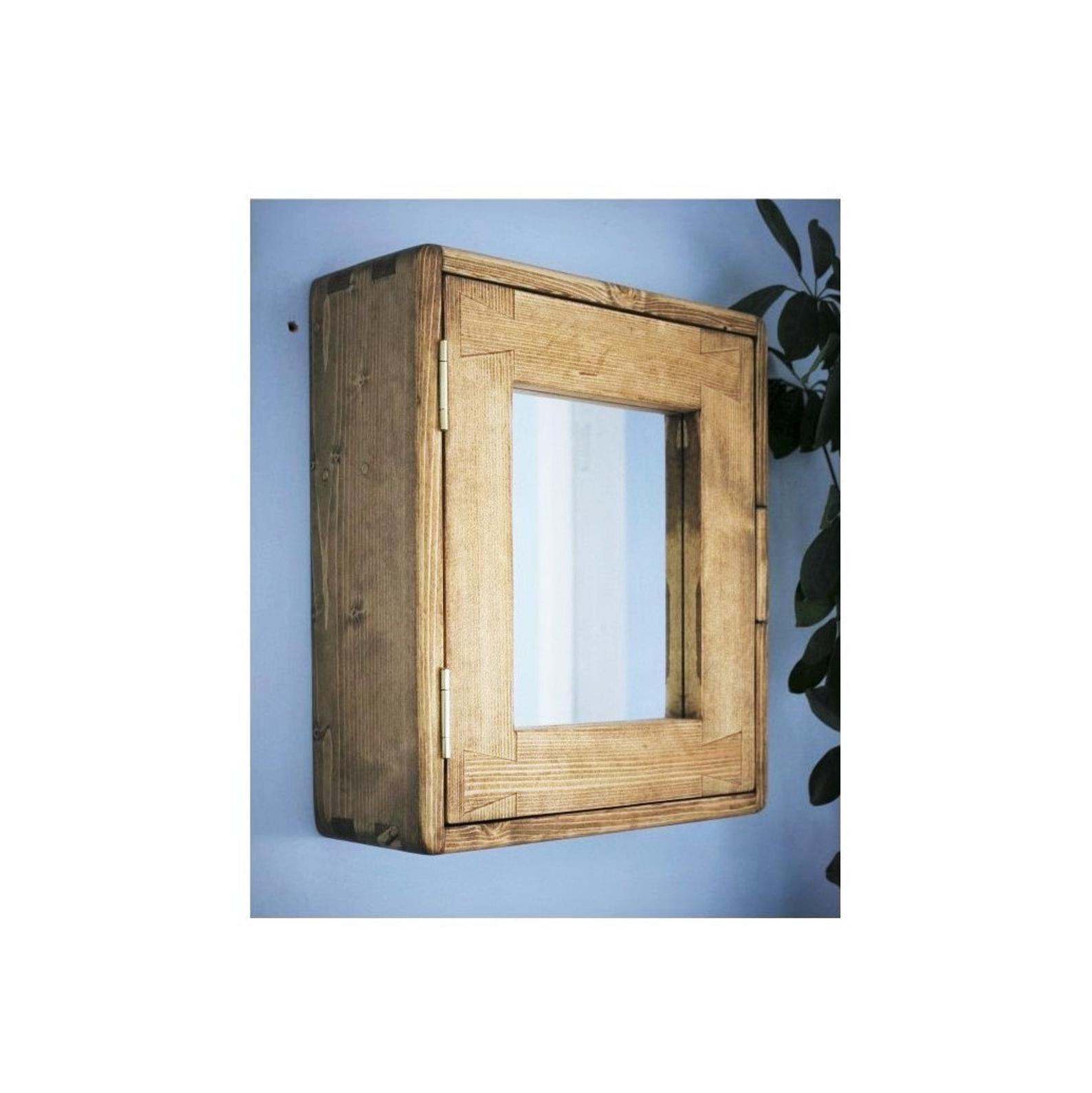 Bathroom Wall Cabinet Natural Eco Solid Wood Small Mirror Door 43 5 H X 38 5 W Cm 2 Shelves Modern Rustic Custom Handmade Somerset Rustic Wooden Furniture Bathroom Wall Cabinets Small Mirrors