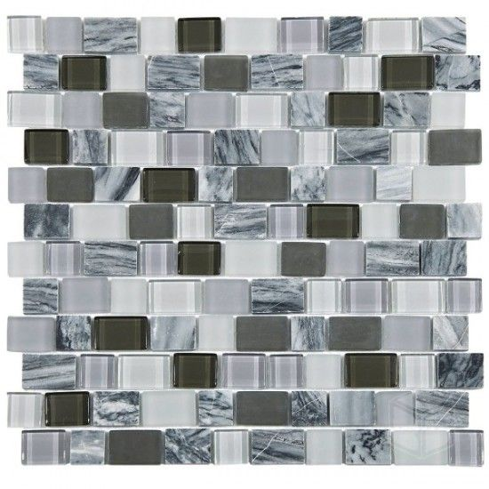 Florida Gris Series Mixed Color Gl And Stone Blend Mosaic Tile Marble