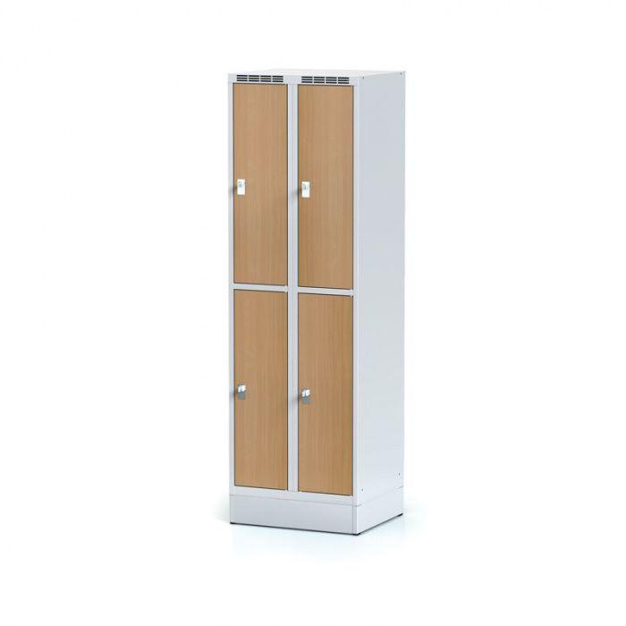 Wardrobe, 4 boxes 300 mm on the plinth, laminated beech door, …