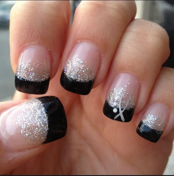 Black Tip Gel Nails I Would Go Opposite White Tips With Glitter