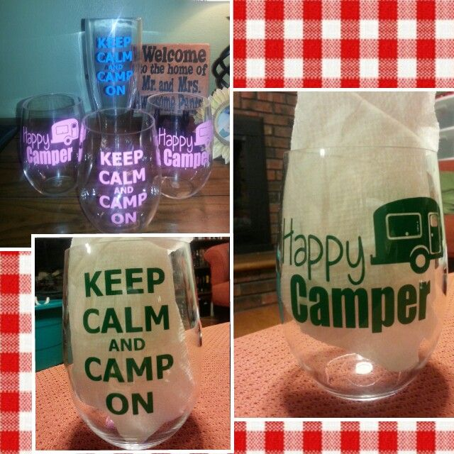Happy Camper  Keep Calm and Camp On Camping glasses  Vinyl