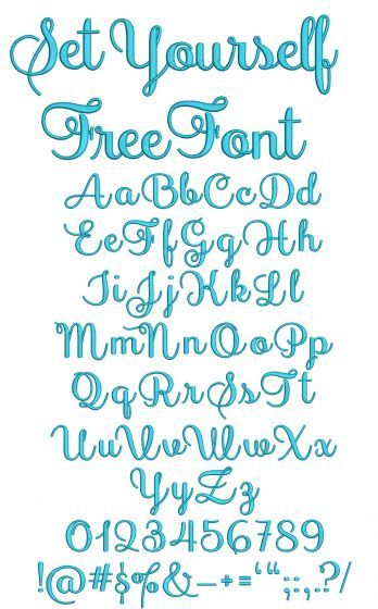 Set Yourself Free Embroidery Font