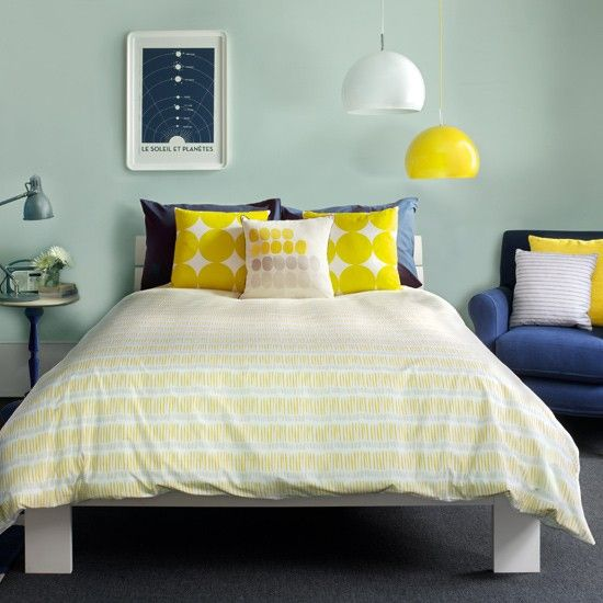 Wonderful Bold Bedroom Wih Blue And Yellow | Blue And Yellow Bedroom | PHOTO .