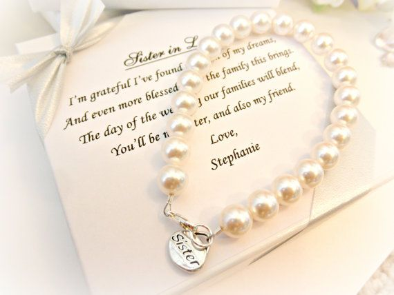 Perfect Wedding Gift For Sister: Sister Pearl Strand Bracelet, Sister In Law Bridesmaid