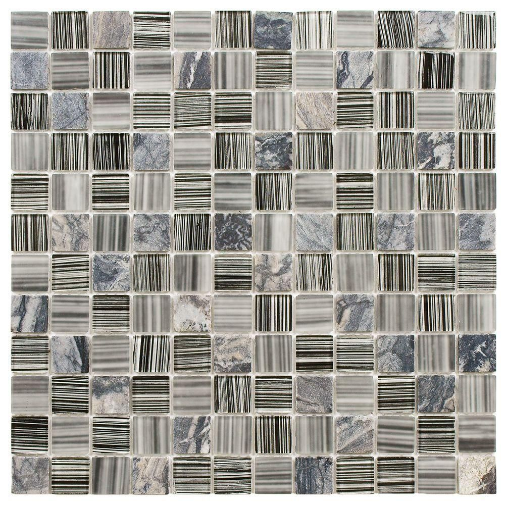 Merola Tile Spectrum Square Licorice 11 3 4 In X 11 3 4 In X 4 Mm Glass And Stone Mosaic Tile Gshssqlq Stone Mosaic Tile Stone Mosaic Mosaic Tiles