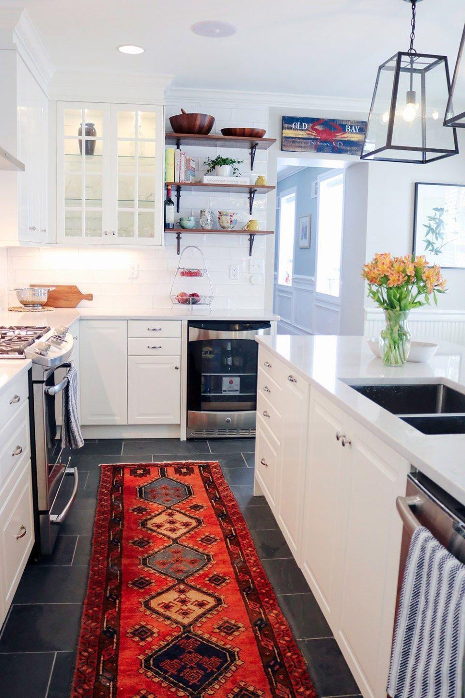 Baltimore traditional white ikea kitchen remodel black slate floor