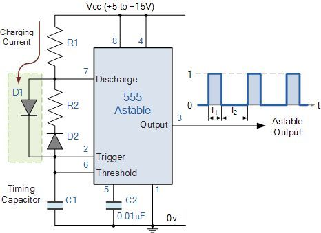 improved 555 oscillator duty cycle technology in 2019 hobby555 Astable Oscillator Circuit Diagram Electronic Circuit Diagrams #16