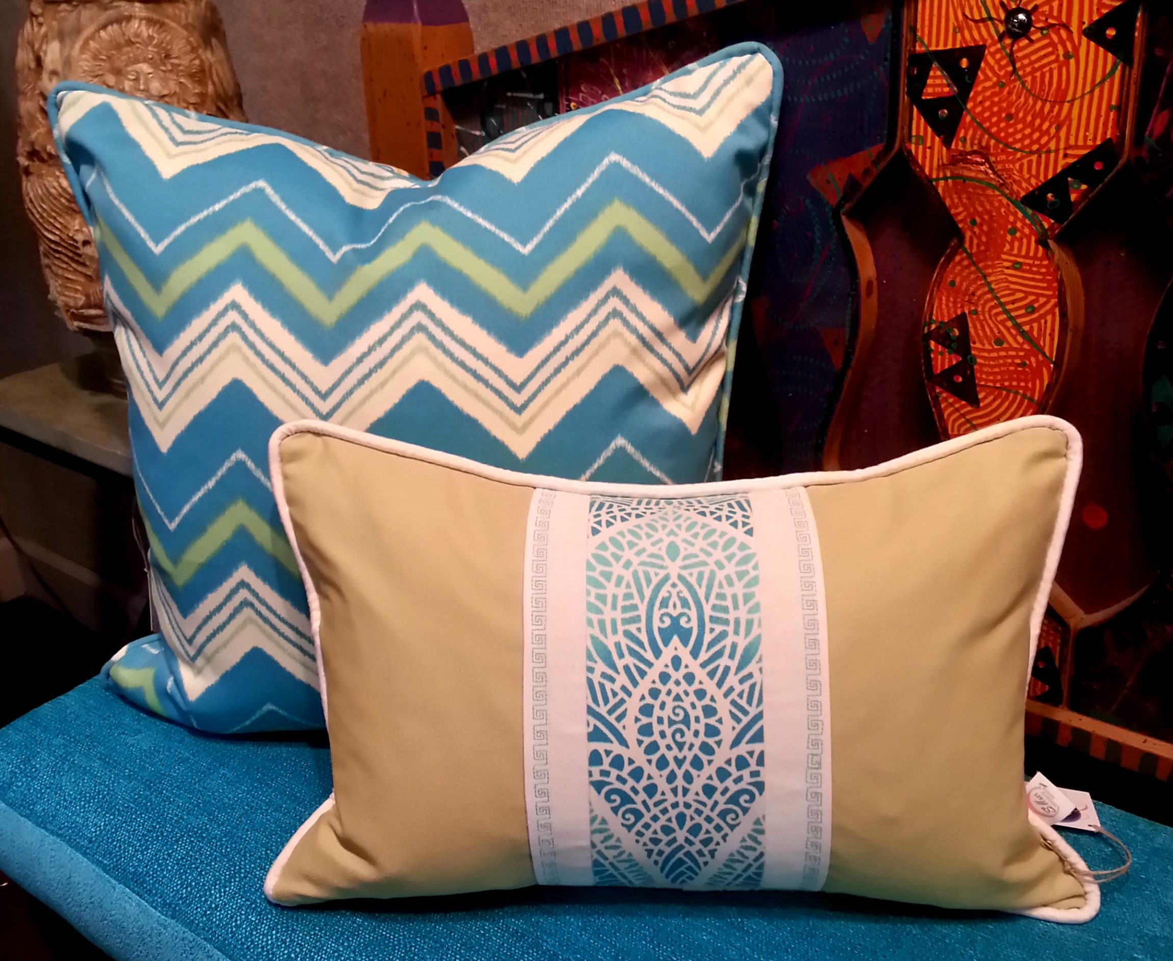 Custom indoor/ outdoor handmade pillows with premium faux down inserts - available at Eclispe at Blue Moon Artisan Boutique
