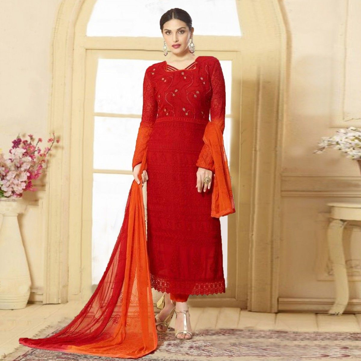 b065266dd6 Buy Red - Orange Pure Chiffon Karachi Suit for womens online India, Best  Prices, Reviews - Peachmode