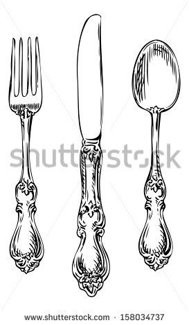 Silverware. Vintage spoon, fork and knife. by onimages, via ShutterStock