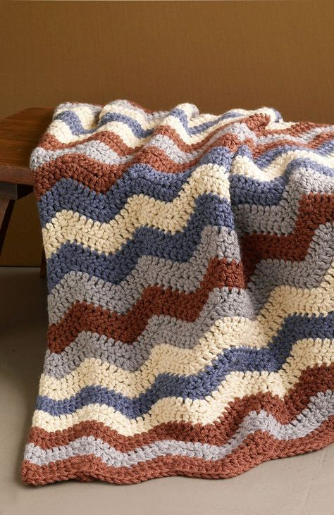 Smoky Mountain Ripple Afghan (Crochet) free pattern - Uses Hometown ...
