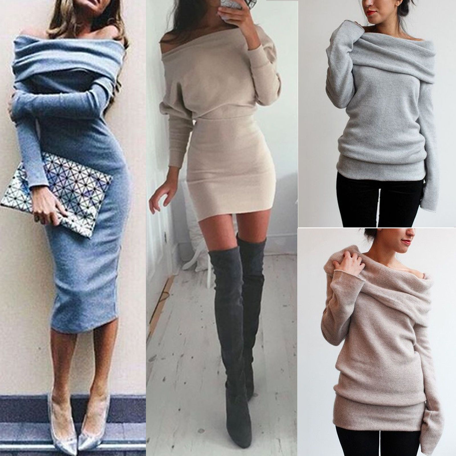 Awesome amazing women winter off shoulder long sleeve jumper sweater