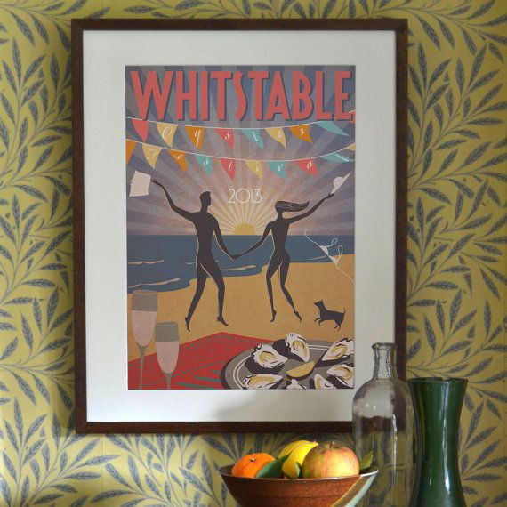 Original Design Art Deco A3 A2 A1 Whitstable by RedGateArts