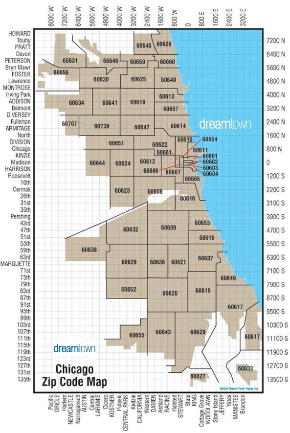 Chicago Zip Code Map  My Chicago dream  Pinterest  Zip code map