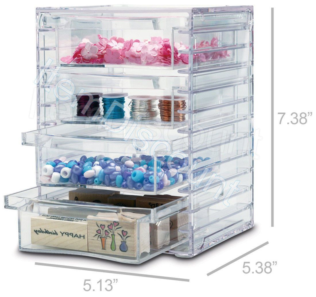 US Acrylic Clear Stackable Organizer 4 Removable Drawers Vanity Makeup  Crafts