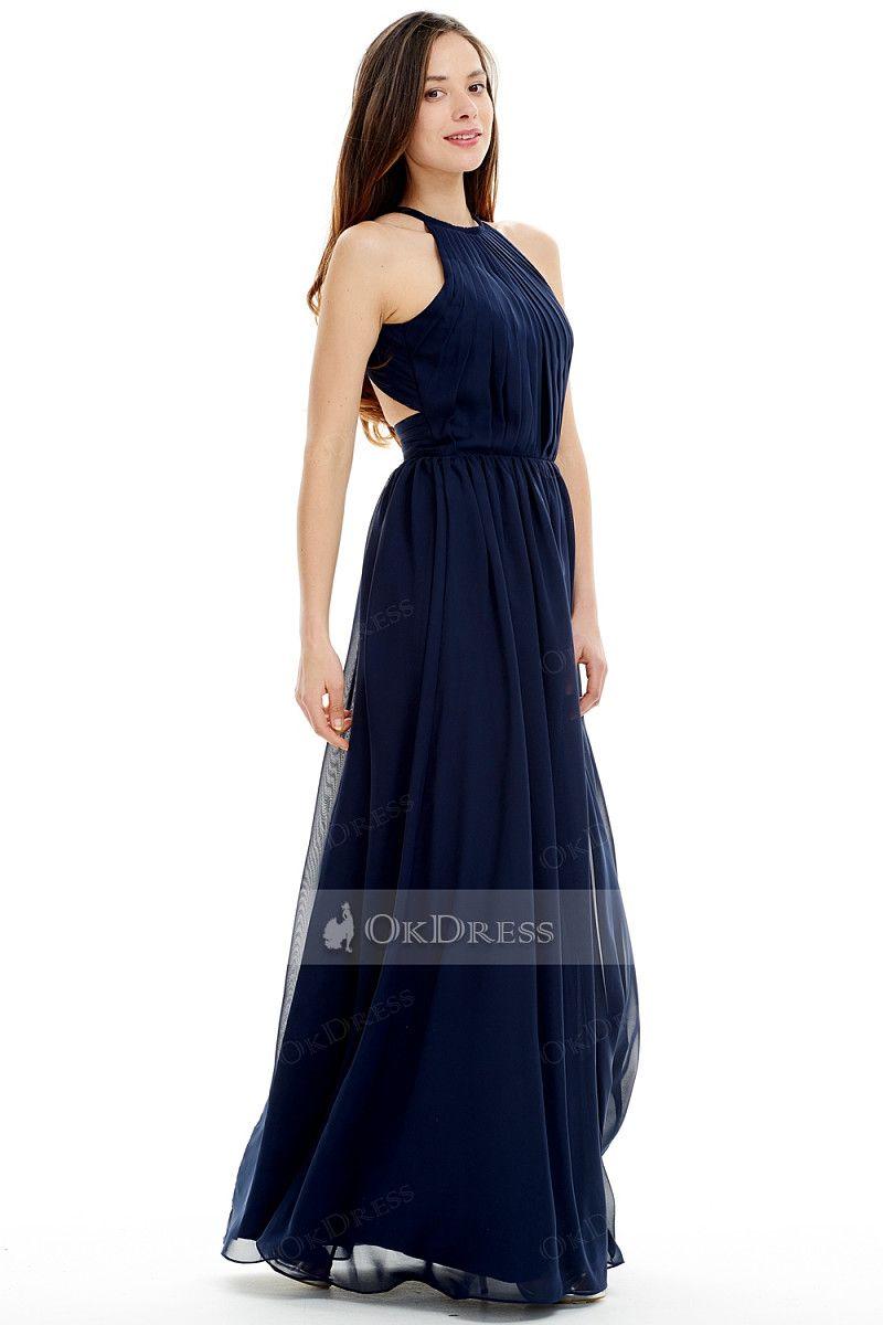 Okdress dark navy pleated simple long prom dress by okdress uk