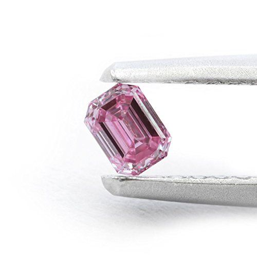 [+2]  014Cts Fancy Intense Purplish Pink Loose Diamond Natural Color Emerald Cut GIA