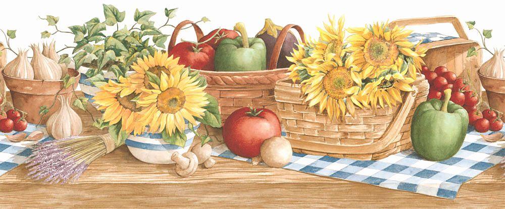 Country Sunflower Vegetable Kitchen Wallpaper Border X 414 Px