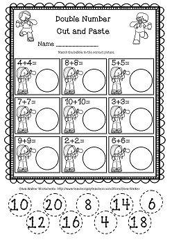 math worksheet : double numbers worksheet this free double numbers cut and paste  : Cut And Paste Worksheets For Kindergarten Free