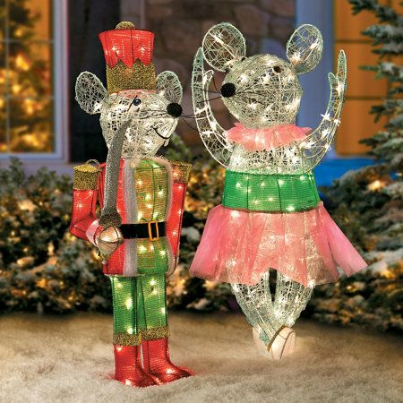 Pre lit nutcracker ballerina mice 20 w x 10 d x 38 h for 4 foot nutcracker decoration