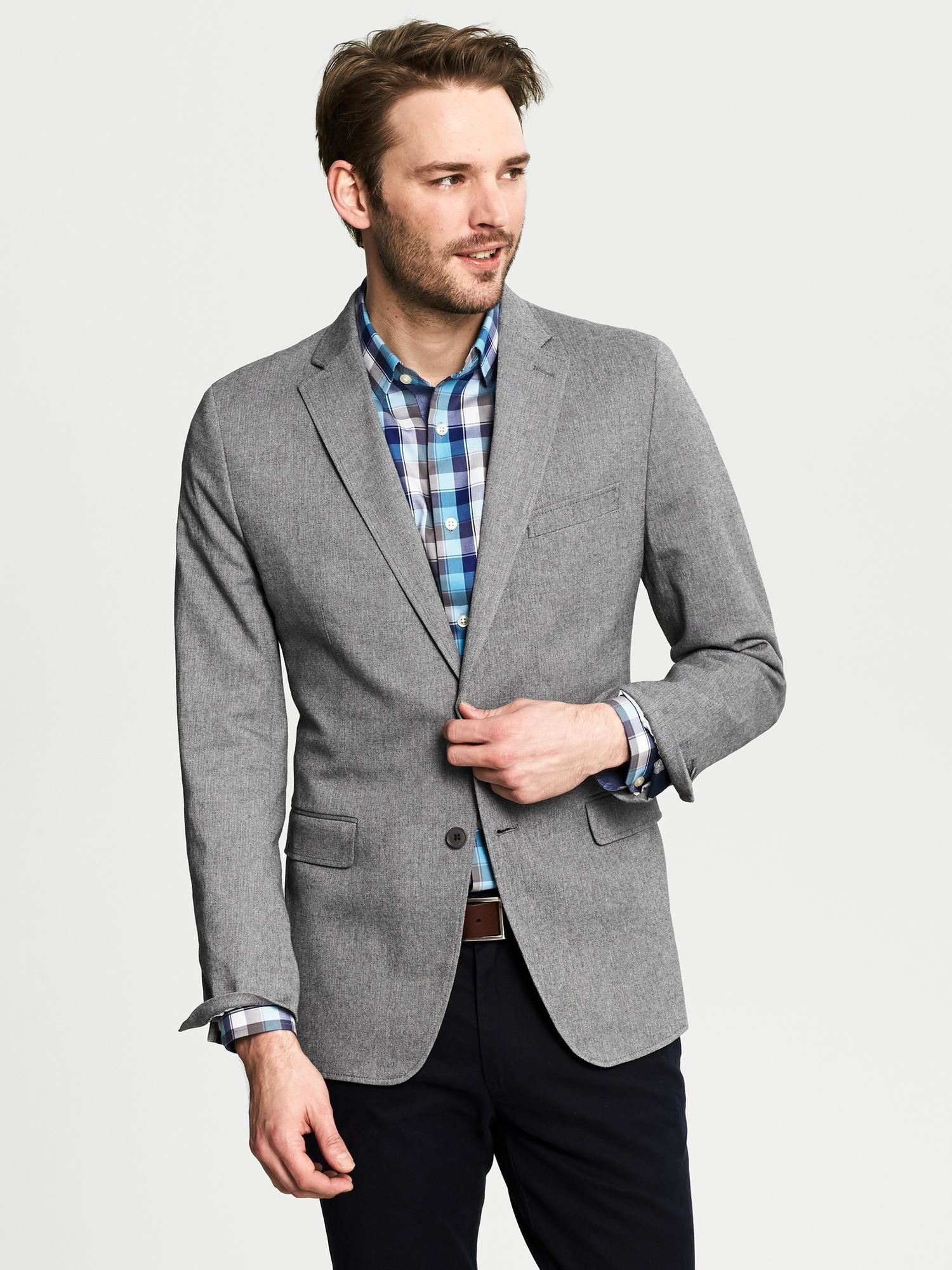 banana-republic-gray-tailored-fit-grey-herringbone-cotton-blazer ...