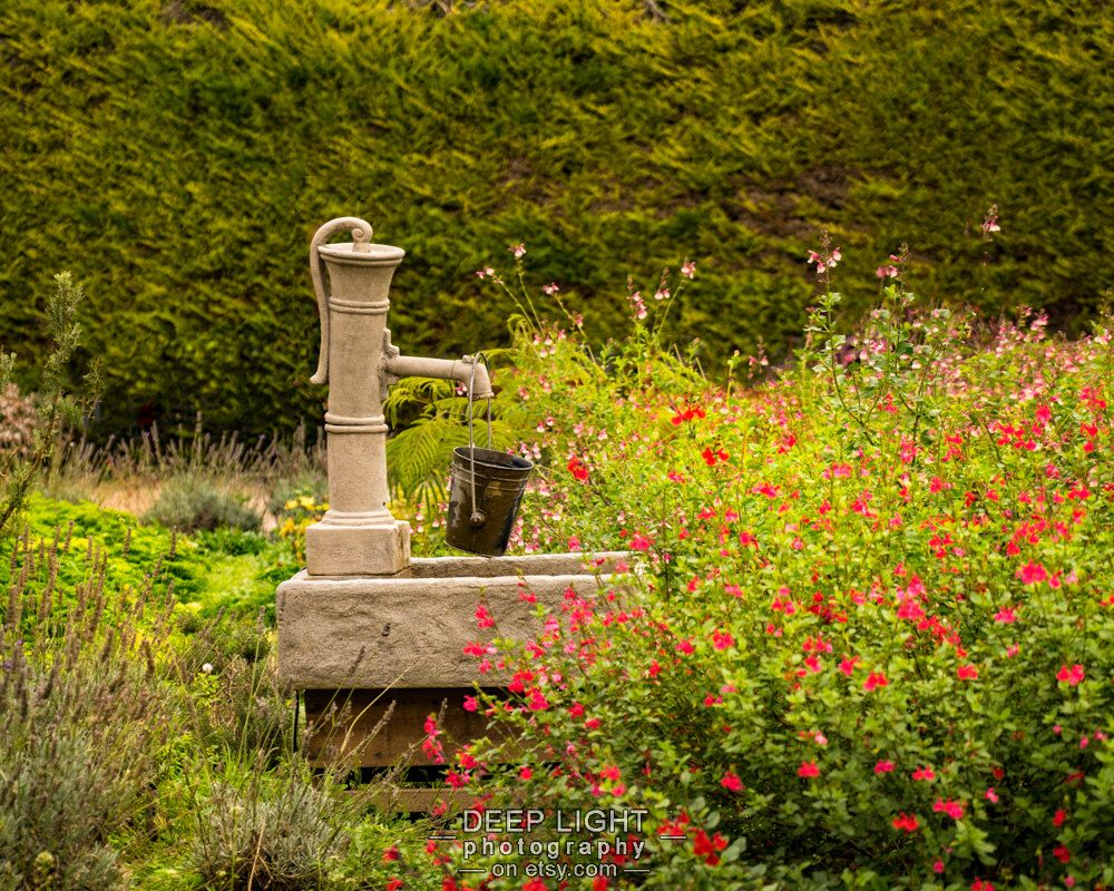 Garden Photograph France Giverny Pump Photo Paris France Green Red ...