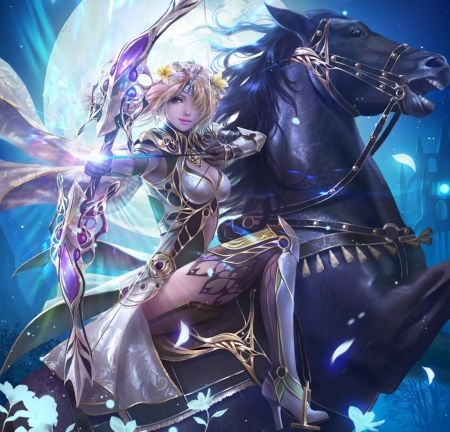 Petals Falling On Knights Wallpaper Magic Archer Blonde Hair White Golden Bow Magic